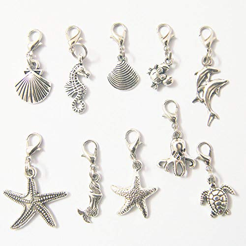 - 30pcs Sea Animal Charms with Lobster Claw Clasp - Under The Sea Ocean Water Life Antique Silver Alloy Charms Set - Bracelets Necklace DIY Jewelry Crafting Arts-Crafts