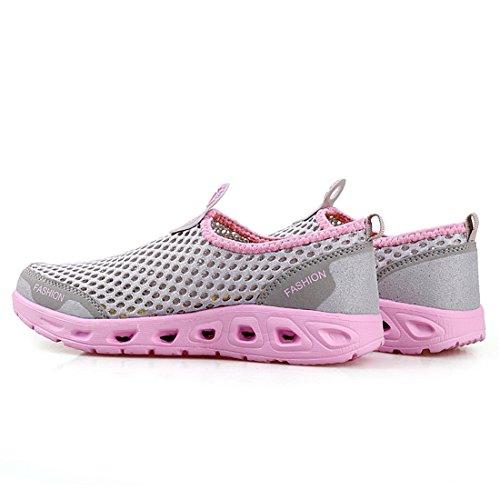 Mode De Femmes Hommes Bain Chaussures Piscine amp; D'eau Mesh Dry Rose Sevenwell Quick Gris Plage v1EndqwZZ