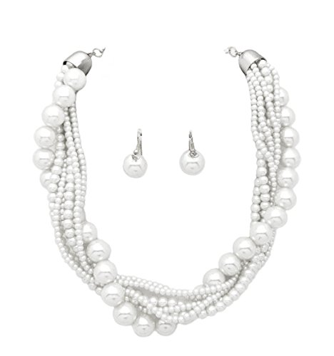 Faux Strand Earrings - Fashion 21 Women's Twisted Multi-Strand Simulated Pearl, Acrylic Ball Statement Necklace and Earrings Set (White)
