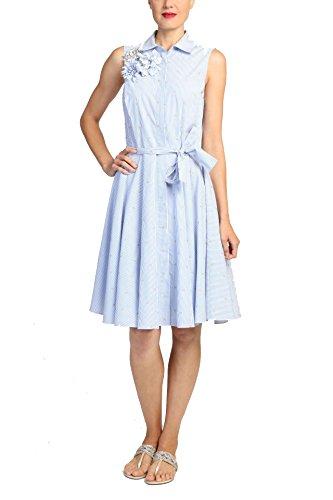 Badgley Mischka Sleeveless Knee Length Cotton Flare Skirt Shirt Dress with Tie Belt, Sky Blue Pinstripe, Size 8