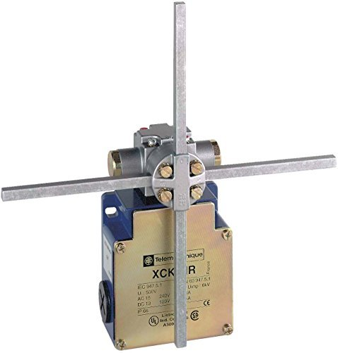 Telemecanique Sensors XCKMR54D1 Limit Switch with Stay Put Crossed Rods Lever, Metal, Series XCKMR, Rotary Head, PG13.5 Cable Gland, 2 x (2 NC) Slow-Break Contacts, 6 mm Schneider Electric SE