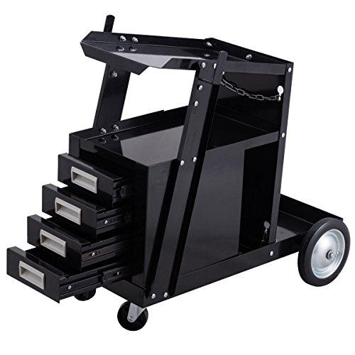 Goplus Welding Welder Cart Trolley Heavy Duty Workshop Organizer for MIG TIG ARC Plasma Cutter w/ 4 Drawer Cabinet
