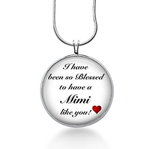 MIMI Necklace - Family Pendant, Saying Charm, Quote Gifts for Grandma - Handmade