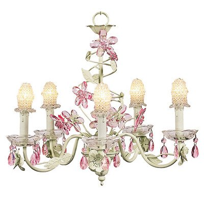 Jubilee Collection 7369-8305 5 Arm Crystal Flower Clear Chandelier with Soft Green and Pink Bulb Cover Jubilee Lighting 5 Arm