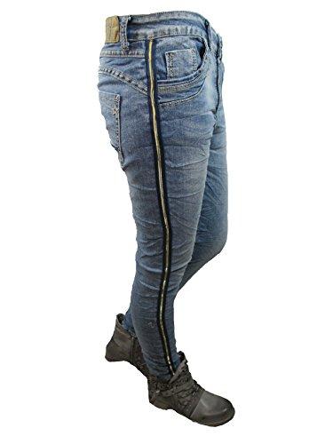 ouverte copain Denim LEXXURY bandes boutons Baggy stretch d'or de jeans range latrales xfnXP7n