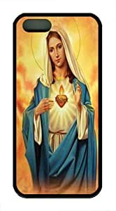 iPhone 5S Case and Cover -Immaculate Heart TPU Silicone Rubber Case Cover for iPhone 5 and iPhone 5s Black
