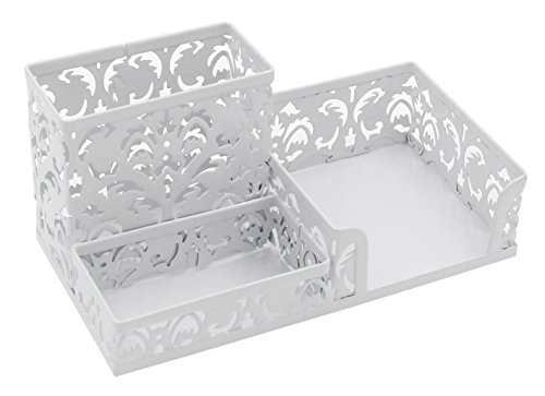 EasyPAG Hollow Flower Pattern 3 Compartment Office Desk Organizer Supplies Caddy,White (Pattern Flower Hollow)