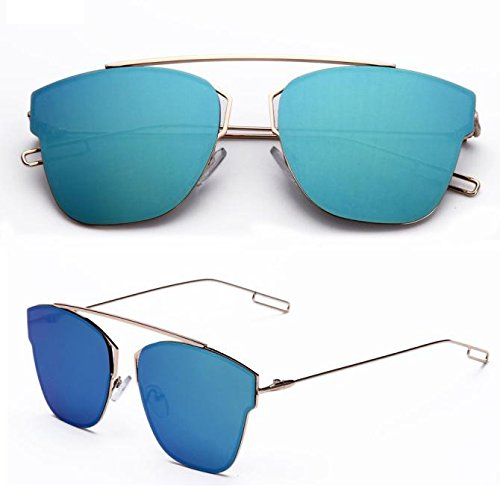Rumas Mirror Shades Military Sunglasses, Oversized Anti-Glare Eyewear, Polarized Sunglasses Aviator Wayfarer Hip-Hop (Blue) for $<!--$3.59-->