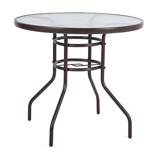 Luckup 32 patio outdoor dining table tempered glass top for Glass top patio dining table