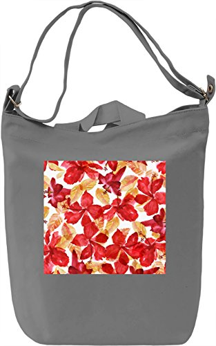 Red Leafs Print Borsa Giornaliera Canvas Canvas Day Bag| 100% Premium Cotton Canvas| DTG Printing|