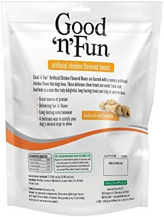 Good n Fun Chicken Flavor Rawhide Bones for Dogs