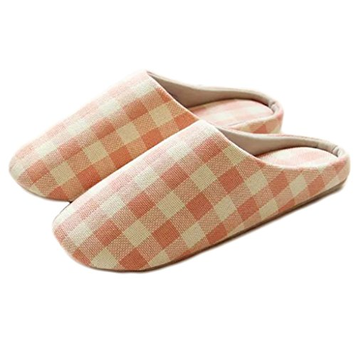 Fortuning's JDS Unisex Adults Couple Cozy Cotton House Footwear Simple Style Lattice Comfy Flatform Slippers Pink 5TExa1pE