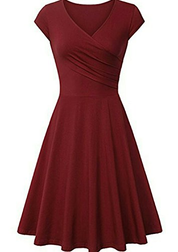 Hawa eye Wrap Dresses, Womens Summer Formal Party Swing Homecoming Ladies Dress V Neck Cap Sleeve Dress High Waist Designer Stylish Plus Size Spring Dress Wine (Wrap Style Dress)