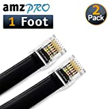 (2 Pack) 1 Foot RJ12 6P6C Data Cable, Male to