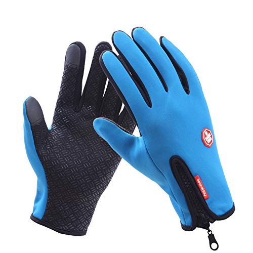(LA-PIN Cycling Gloves, Touchscreen Warm Bicycling Bike Gloves, Waterproof Outdoor Sports Running Gloves for Bicycling Running Skiing Hiking Climbing (Blue))