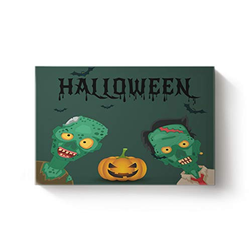 EZON-CH Modern Canvas Wall Art Artworks Home Decor for Christmas,Green Devil Pumpkin Happy Halloween Oil Painting,Stretched by Wooden Frame,Ready to Hang,12 x 20in