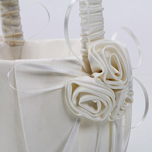 OULII 2-Pack Wedding Satin Flower Girl Basket Ivory With Rose Decorated by OULII (Image #3)
