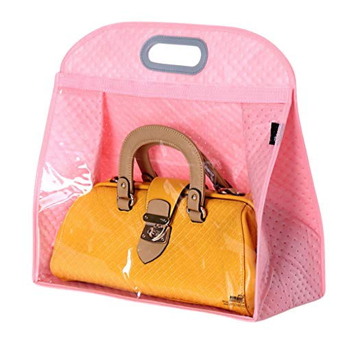 Today's Deal Santwo Handbags Storage Hanging Closet Bag Organizer Purse Holder PVC Bag and Save Space (XL, Pink) ()