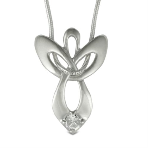 Loving Family 925 Silver April Swarovski Crystal Guardian Angel Necklace - 16
