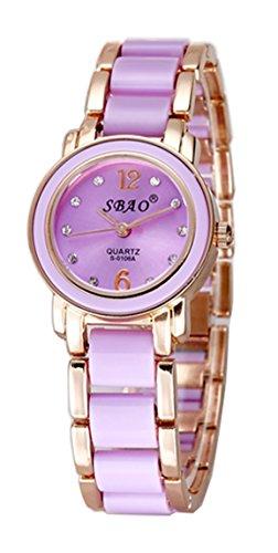 Fashion Imitation Ceramic Women's Ladies Bracelet Watch Waterproof Quartz Diamond Students Wrist Watch With Watch Box (rose gold and (Ladys Gold Diamond Bracelet Watch)