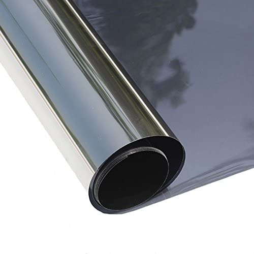 ConCus-T Sun Blocking One Way Window Film Privacy Tint Film for Home Heat Blocking Vinyl Film Non-Adhesive Anti UV Static Cling Window Sticker Black for Skylight Winter Garden 35.43×157.48