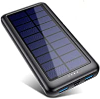 QTshinee Solar Power Bank Type C & Micro USB Inputs, Solar Portable Charger 26800mAh External Backup Battery Pack Fast...