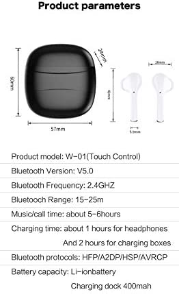 Bluetooth Earbuds, Bluetooth 5.0 in-Ear Earphones Built-in Mic Headset TWS Stereo Sound Touch Control Noise Cancelling Waterproof Sports Wireless Headphones for iPhone/Android (Black)