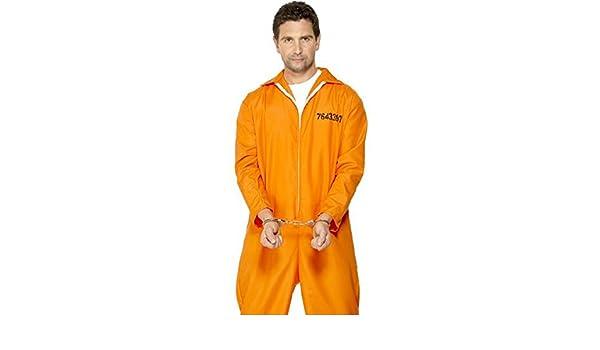 Generique - Disfraz de preso para Hombre Naranja M
