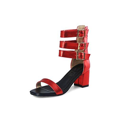 Peep Qin Bloque Sandalias amp;x Red Mujer Tacones Toe De wgRwf
