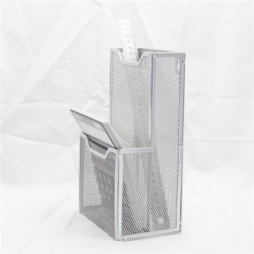 Metal Ware Collection - Stock Show 1Pcs Mesh Collection 2-Pocket Metal Wall Mounted Postcard Caddy/Chopsticks Holder/Tableware Container/Stationery Sorter, Silver