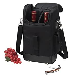 Picnic at Ascot 325NY-BLK Two Bottle Carrier in Black,