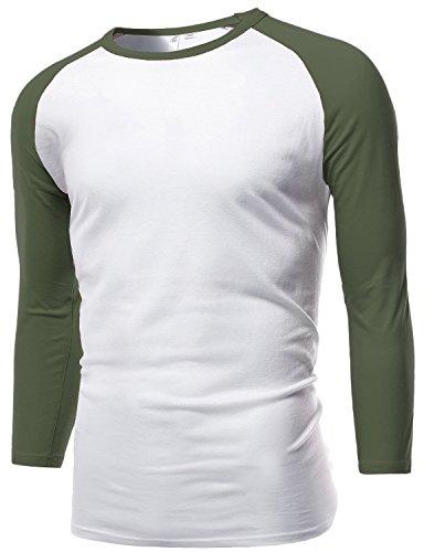White Contrast Neck T-shirt - 3/4 Contrast Sleeve Raglan Round-Neck Baseball T-Shirts White Olive Size XL