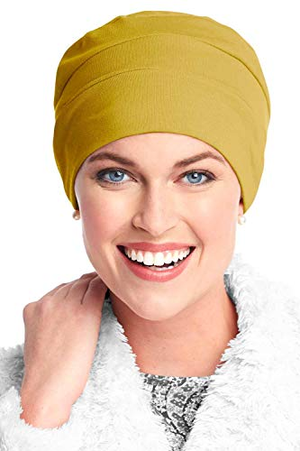 Headcovers Unlimited Three Seam Cotton Sleep Cap-Caps for Women with Chemo Cancer Hair Loss Mustard