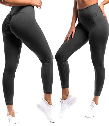 (Fittoo Women Butt Lift Ruched Yoga Pants Sport Pants Workout Leggings Sexy High Waist Trousers, Ruched Black, Medium)