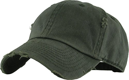 Green Low Profile Cap - H-218-DW33 Distressed Dad Hat Vintage Low Profile Baseball Cap - Washed Olive