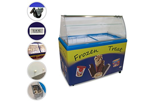 Export Quality - Commercial Ice Cream Freezer with 8 Dipping Buckets, ETL certified, LED light, Curved Glass, holds 4x3 gallons ice cream tubs, Attractive, adjustable temperature - Trusted Freezer