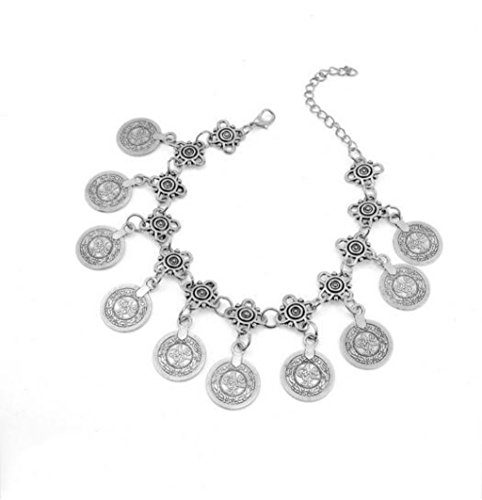 Shally Women's Vintage Charm Bracelet Coin Tassel Bohemia Style