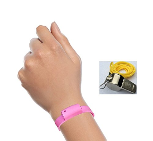 Pepper Spray Bracelet with Adjustable Silicone Band with Bonus Whistle, Pink | Contains 3 - 6 Bursts of 10% OC | Lightweight & Discreet for Men or Women from Little Viper | Cannot Ship to MA or NY (Whistle Pepper Spray compare prices)