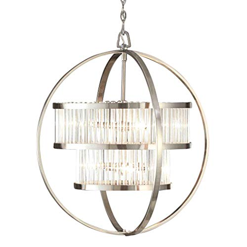 Brushed Nickel Chandelier Centerpiece Emits Modern Contemporary Elegance. This Orb Ceiling Lamp Is Versatile And Suitable For Dining Rooms, Entryways, Bedrooms and More./ 6 Light Crystal Light Fixture ()