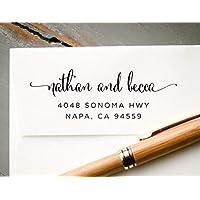 Self-Inking Calligraphy Font Return Address Stamp, Pre-Inked Custom Rubber Stamp, Wedding Invitation Stamp