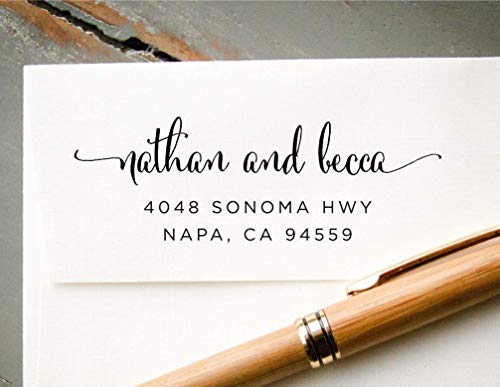 Self-Inking Calligraphy Font Return Address Stamp, Pre-Inked Custom Rubber Stamp, Wedding Invitation Stamp