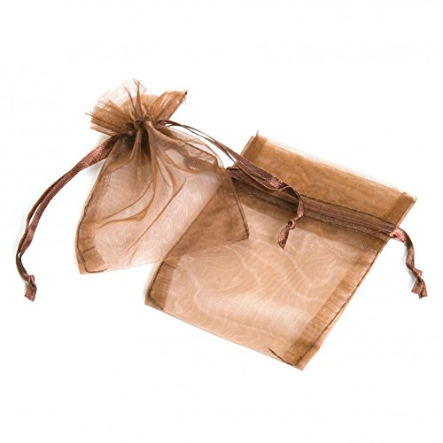 Koyal Wholesale 10-Pack Organza Favor Bags, 5-Inch by 6.5-Inch, Brown