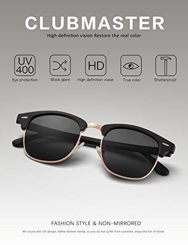 LUENX Men Women Clubmaster Polarized Sunglasses:UV 400 Protection 51MM with Case (23 Black(Matte Frame)/Non-Mirror, 51) by LUENX (Image #1)