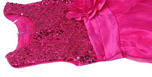 Wocau Little Girls' Sequin Mesh Tull Dress Sleeveless Flower Party Ball Gown (130(5-6 Years), Rose)