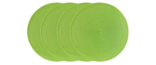 Ritz Round Easy-Clean Reversible Woven Placemat, Grass Green, Set of 4