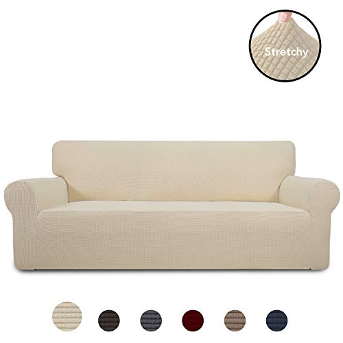 PureFit Stretch Sofa Slipcover - Spandex Jacquard Anti-Slip Soft Couch Sofa Cover, Washable Furniture Protector with Anti-Skid Foam and Elastic Bottom for Kids (Sofa, Ivory) ()