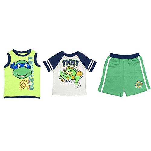 - Nickelodeon Toddlers Tank Top, T-Shirt & Shorts Set, Ninja Turtles, Green, 5