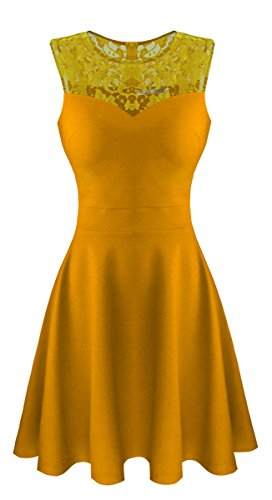 Sylvestidoso Women's A-Line Sleeveless Pleated Little Mustard Cocktail Party Dress with Floral Lace (XS, Mustard)