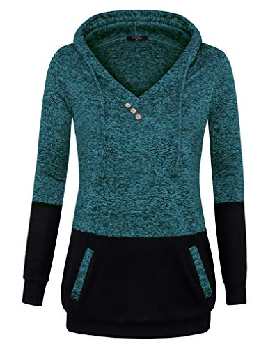 VALOLIA Hoodies for Women, Ladies Long Sleeve Sweatshirts Oversize Active Hoody Loose Tunic Green M