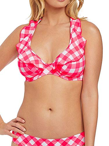 Freya Totally Check Ruffled Bikini Top, 34F, Tropical Punch